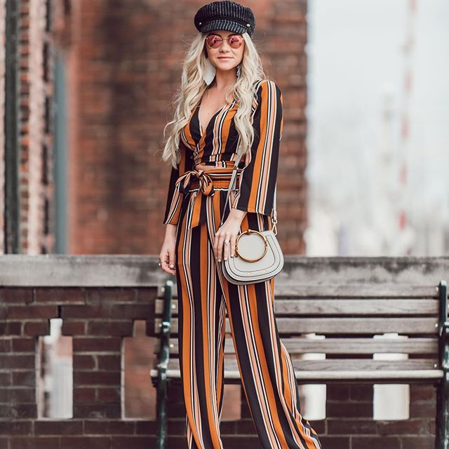 SEEING STRIPES | New style diary featuring this striped set + pinstripe cabby hat is up on the blog! @cameronpremo and I recently spent an afternoon exploring @marathonvillage. It is a unique, industrial area of Nashville that originally housed Marathon Motor Works, the first factory to totally manufacture automobiles in the southern US.  It is now home to a community of retail stores, businesses and a music venue. _____ I've been wearing @kristalizejewelry earrings nonstop lately, and…