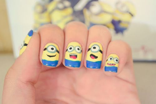 26 Unbelievable Movie Inspired Nail Art Designs. Despicable Me minions