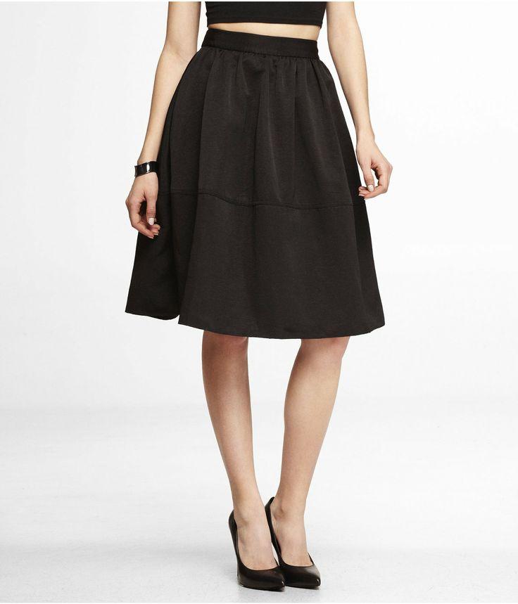 High Waisted Full Midi Skirt