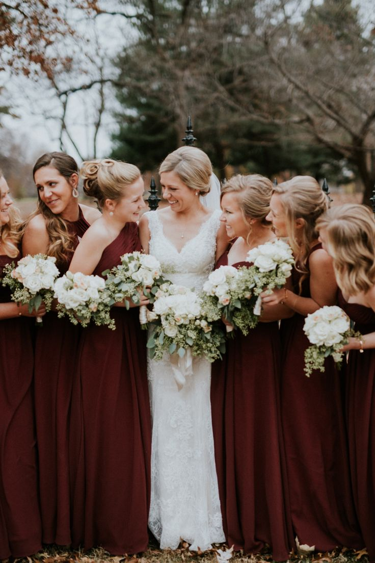 Maroon bridesmaids dresses  Lafayette Square wedding, St. Louis winter wedding