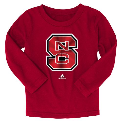 NC State Wolfpack Adidas Kids Red Chromed Block S Long Sleeve T-Shirt