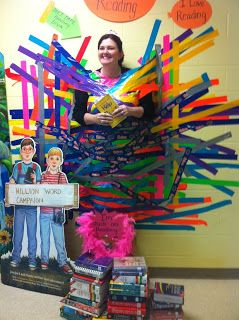 Cute Idea for Read Across America Week! Any student reaching a goal gets a piece. Tape to tape principal or counselor up
