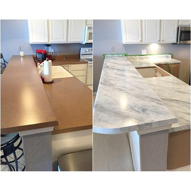 Even though the painter's tape/craft paper are still up, and the sink is missing-- these kitchen counters are looking AMAZING!  The drab brown laminate was refreshed to look like marble using our White Diamond Countertop Paint kit. #diy #paintedcountertops