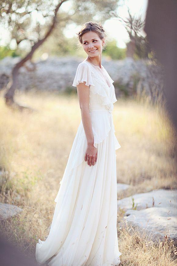 Nice Ivory v neck chiffon florals Aline simple wedding by Bebowedding