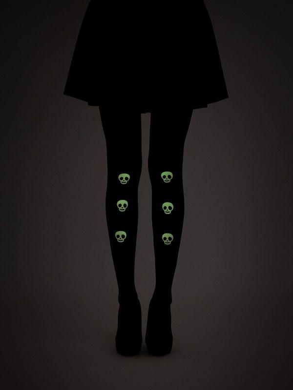 Glow-in-the-dark skulls tights! 40 denier, semi-opaque, soft touch microfibre tights.