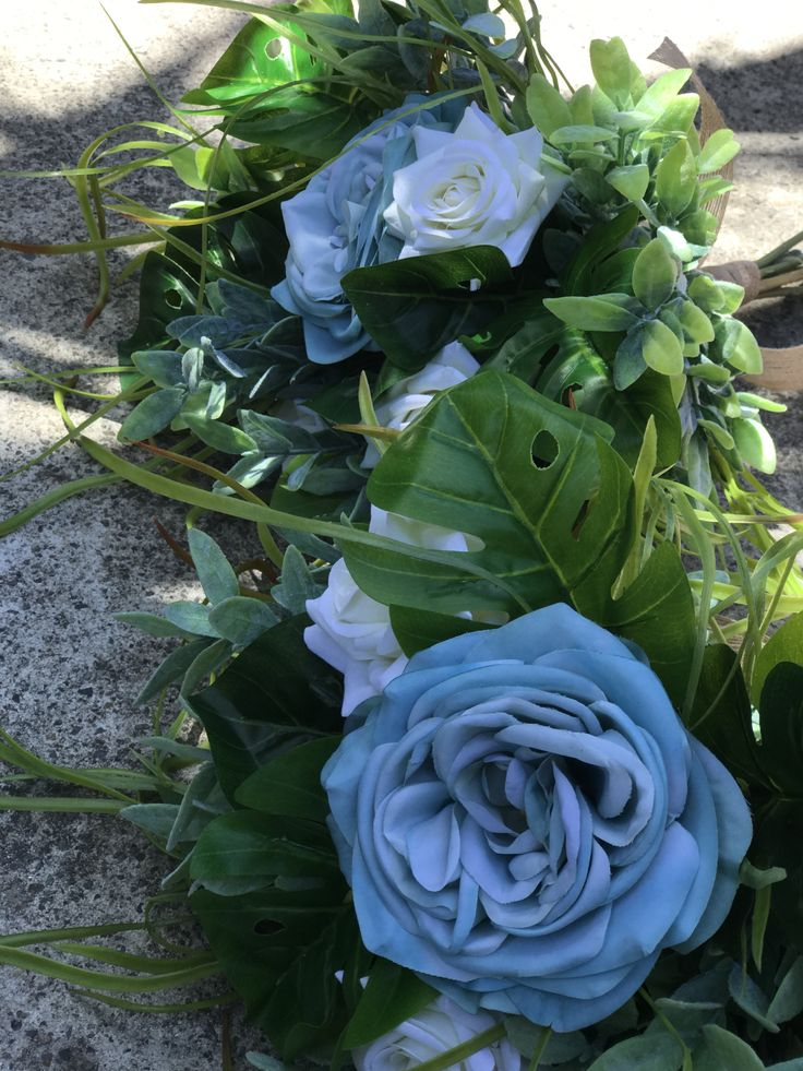 Blue and greenery bridal bouquets