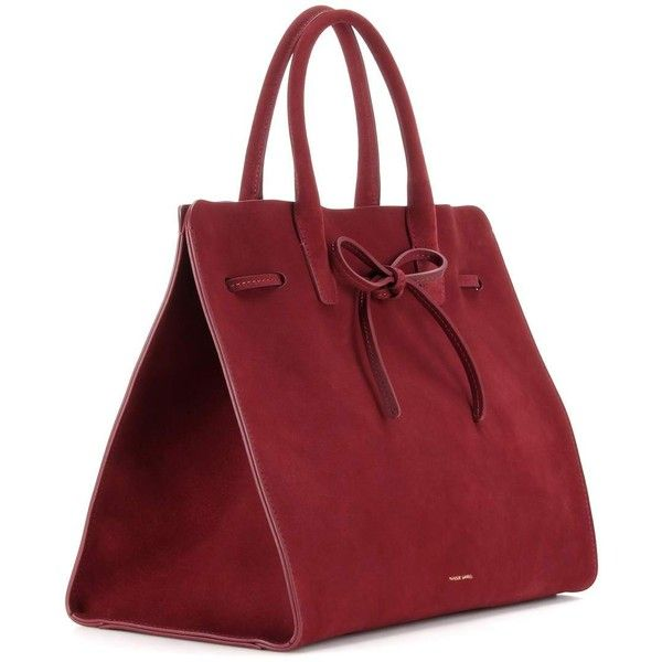 Mansur Gavriel Large Sun Suede Tote (614.615 CRC) ❤ liked on Polyvore featuring bags, handbags, tote bags, red purse, suede totes, red tote, handbags totes and suede handbags
