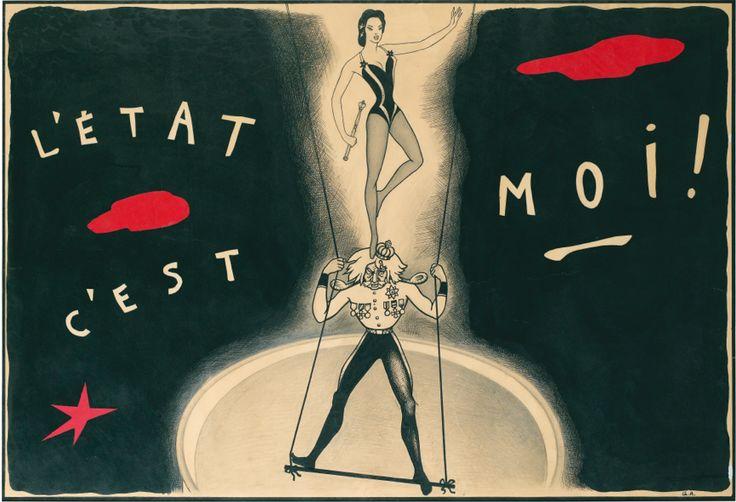 """Poster by Yuri Pavlovich Annenkov (1889-1974), Lola Montès, """"L'état c'est moi !""""."""
