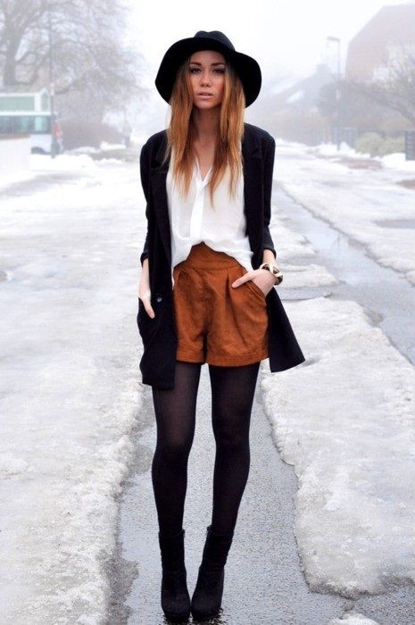 hat, shorts, tights, sweater, shirt, white, black, camel, fashion
