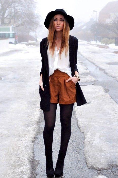 hat, shorts, tights, sweater, shirt, white, black, camel, /            \\\\\\fashion