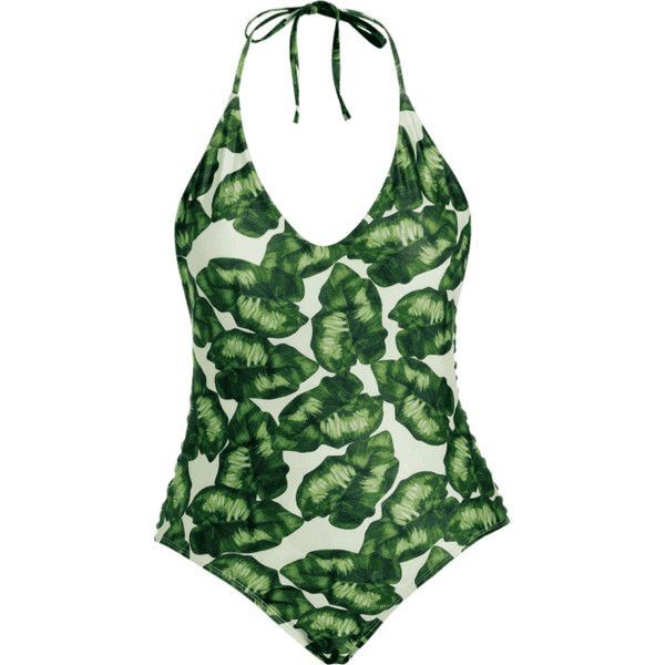 Leaf Print Strappy Plus Size Swimsuit ($14) ❤ liked on Polyvore featuring swimwear, one-piece swimsuits, plus size swimwear, plus size swim wear, plus size one piece swimsuit, strappy bathing suit and green swimsuit