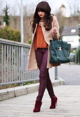 Women's Red Suede Ankle Boots, Purple Cargo Pants, Orange Longsleeve Shirt, Camel Coat, Teal Leather Satchel Bag, and Gold Necklace