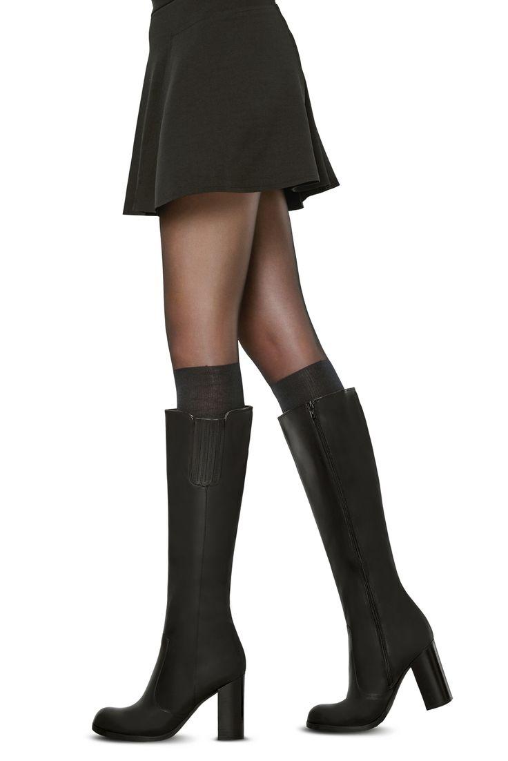 500 Siyah Çizme Çorabı - Külotlu Çorap