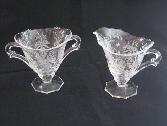 Heisey Glass Etched Orchid Creamer and Sugar by DaisysAttic, $40.00