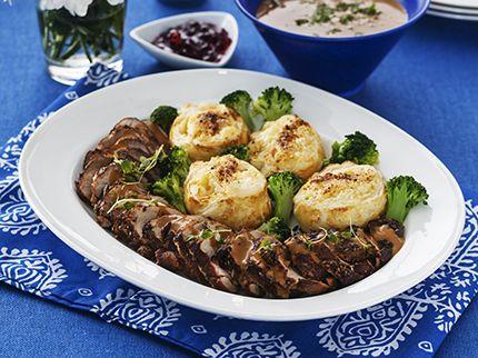 Helstekt fläskfilé med potatisbakelse