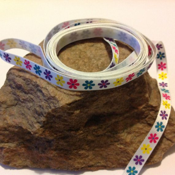 """3 Yards of 3/8"""" Grosgrain Ribbon, White with Bright Flowers Pattern $3.75"""