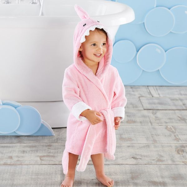 This pink shark robe is absolutely adorable for a girl! (Now available in a larger size: 12-18m)