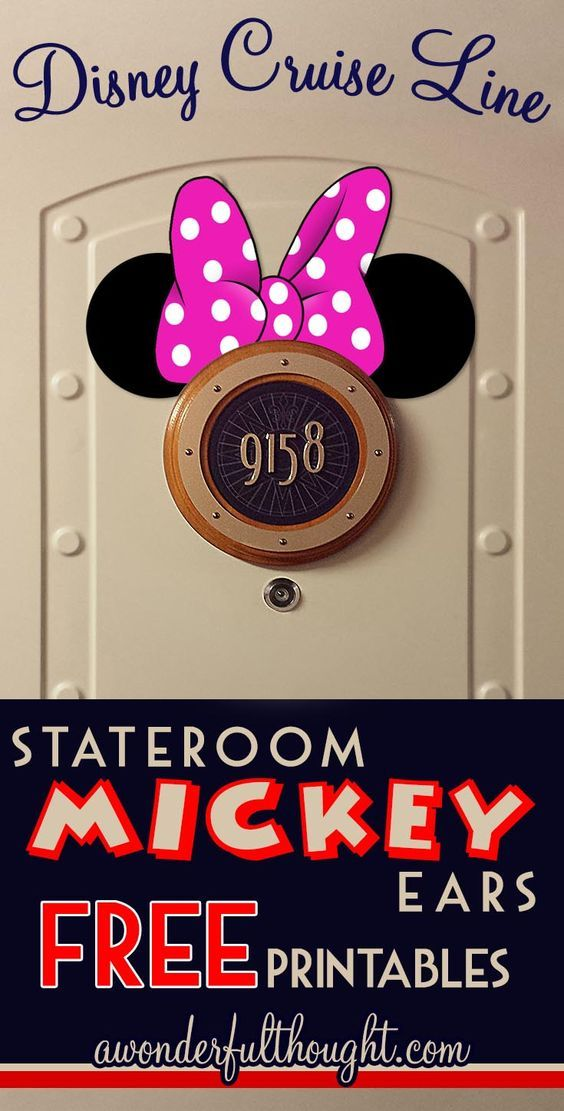 Decorate your stateroom door on Disney Cruise Line with this cute Minnie Pink Bow Stateroom Mickey Ears!  Free to print and easy to make into a magnet for a door decoration.  Get more ears at awonderfulthought.com