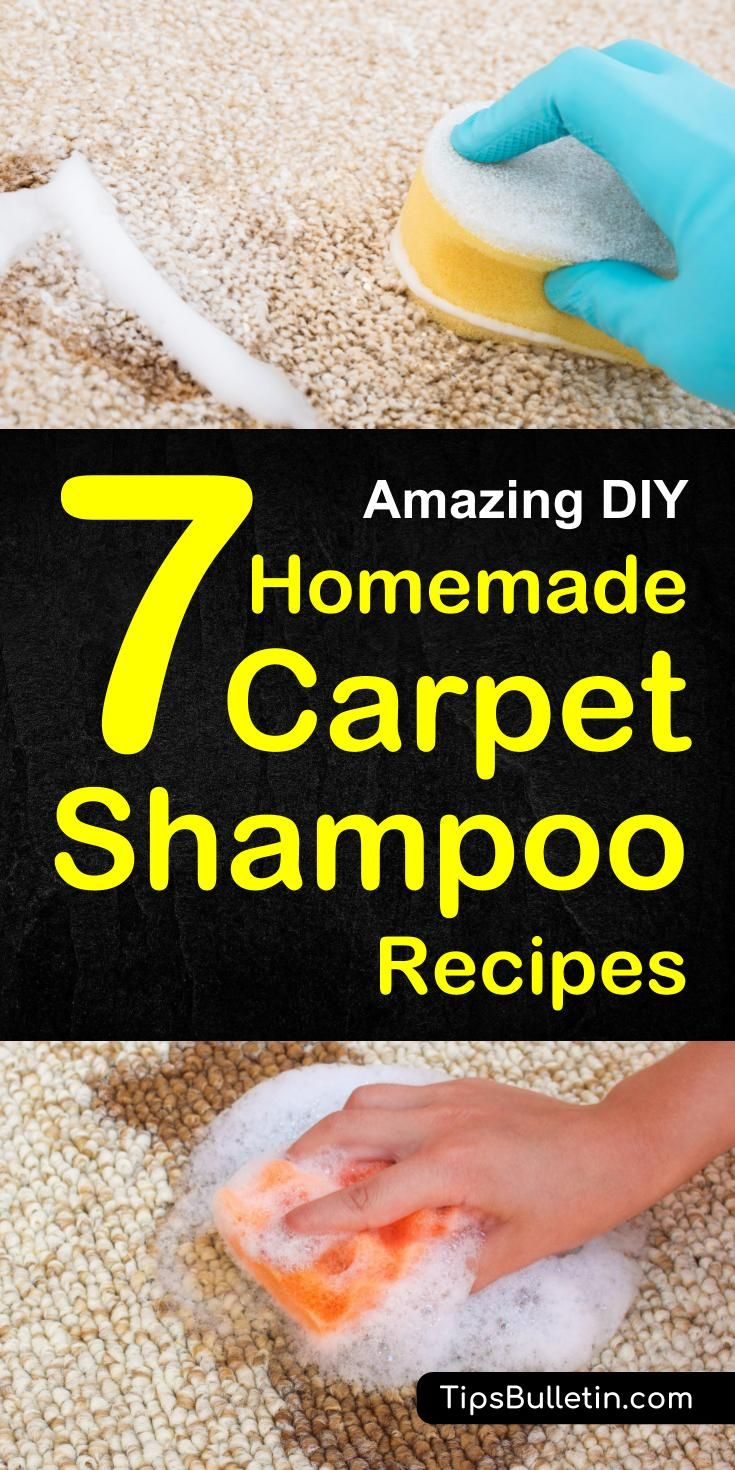 7 DIY Homemade Carpet Shampoo Recipes - including DIY recipes of natural carpet cleaner for light-colored, carpet cleaning machine solution, a homemade citrus-enzyme cleaner, a pets stain odor remover spray and hydrogen peroxide baking soda carpet soak.