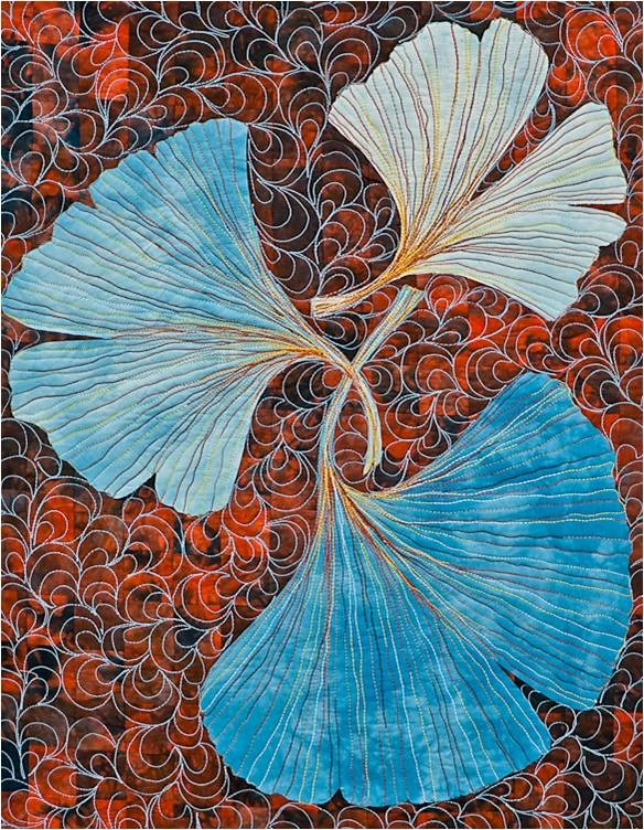 """Blue Ginkgoes by Norma Schlager, in """"Color Play for Quilters"""" by Joen Wolfrom. Free class giveaway at Quilt Inspiration (until 12/19/12)"""