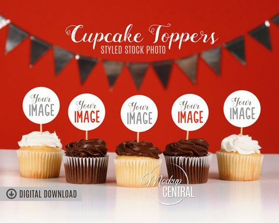 Download Free Blank Cupcake Birthday Party Toppers Mockup Photo Styled Stock Psd Free Psd Mock Cupcake Birthday Party Free Packaging Mockup Free Psd Mockups Templates