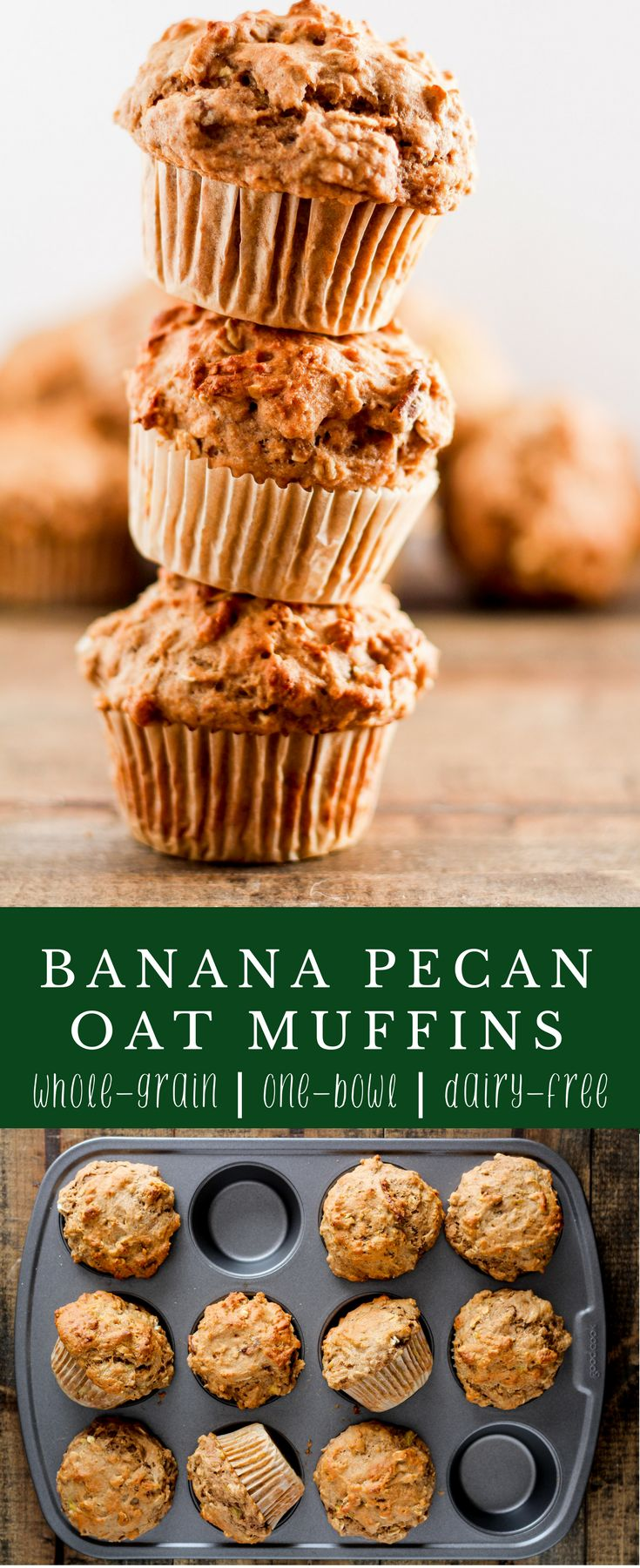 Looking for a healthy, breakfast recipe to eat on the go? These Banana Pecan Oat Muffins are easy to make, perfect for meal prep, and packed with fiber from whole grains and fruit.   Delicious recipe from @gratefulgrazer   #muffins #wholegrain #wholewheat #mealprep #breakfast #dairyfree #vegetarian via @gratefulgrazer