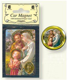 Holy Family Car Magnet & Prayer Card.