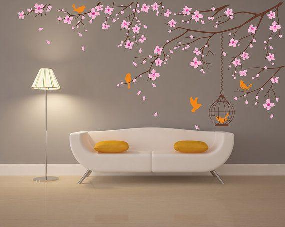 Best Asian Japanese Cherry Blossom Tree Vinyl Wall Art Decal - Custom vinyl wall decals cherry blossom tree