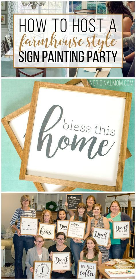 How to host a sign painting party to make farmhouse style painted signs. So much fun! | sign painting party | farmhouse signs | ladies craft night | craft party | craft night ideas | sip n paint party #signpainting #craftnight #farmhousesigns