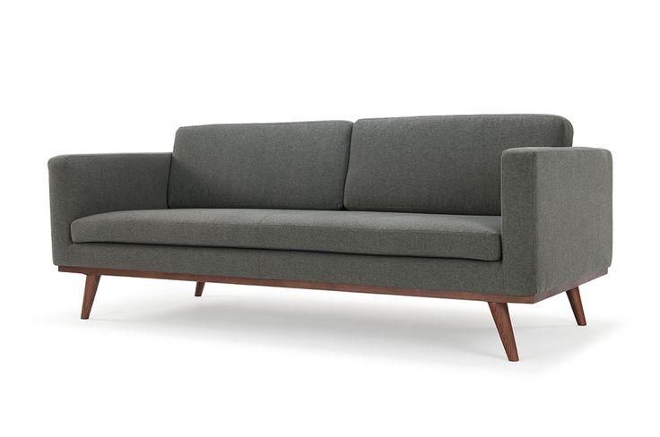 Johan, 3-seater sofa, Sunday Dark Grey, Walnut stained Legs