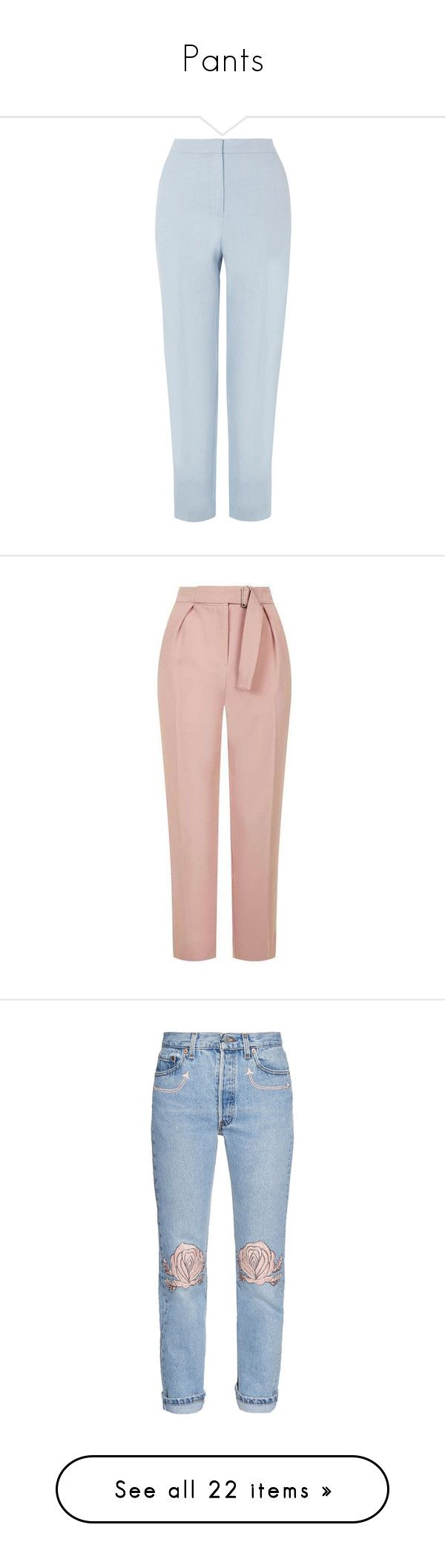 """""""Pants"""" by martsola ❤ liked on Polyvore featuring pants, trousers, bottoms, jeans, pants blue, pastel blue, women, tapered trousers, tapered pants and pastel pants"""