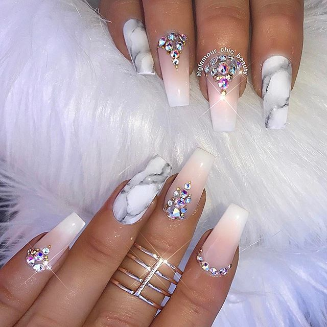 Classic with a modern twist - Ombré French manicure with crystals along the base & grey/white marble accent nails #nailsonfleek...x
