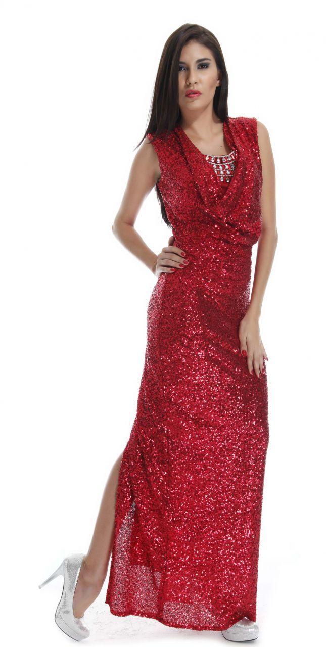 Kırmızı renk uzun abiye elbise
