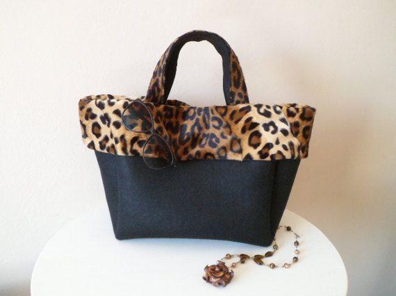 Borsa casual elegante leopardo feltro nero borsa sacchetto