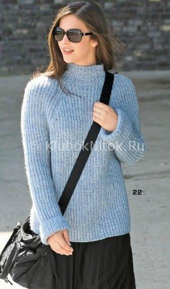 Пуловер реглан с полупатентным узором | Вязание для женщин | Вязание спицами и крючком. Схемы вязания.