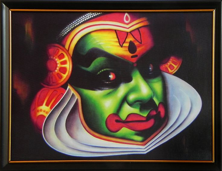 Kathakali Face (Deco Painting) - Wall Hanging with Stand (Deco Painting on Wood))