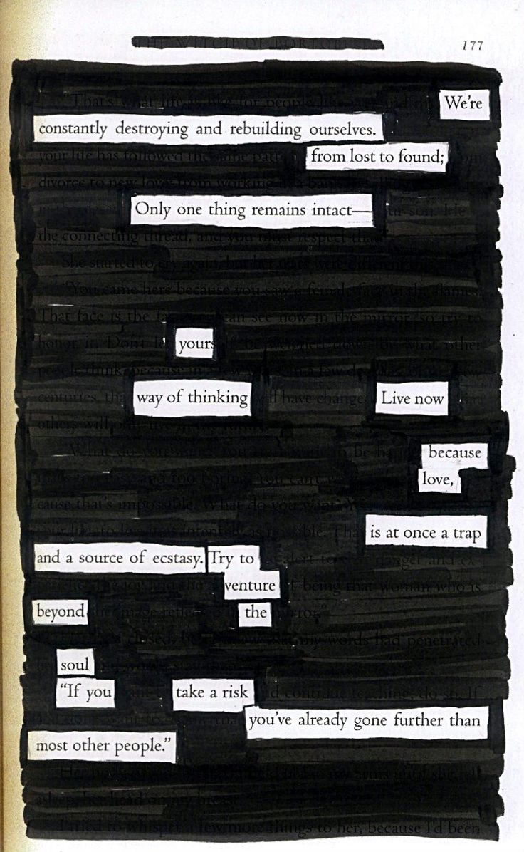 "Live Now - Blackout Poem by Kevin Harrell. Blackout poetry and altered books are great interventions (especially for writers or adults who are critical of their ""art"" ... did this with my first-ever client and it was very successful!)"