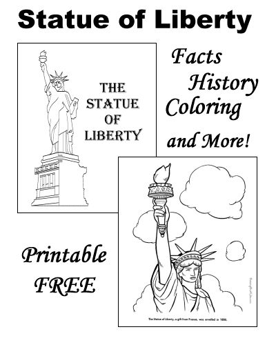 The Statue of Liberty coloring pages, facts, history, inscription, poem and more!