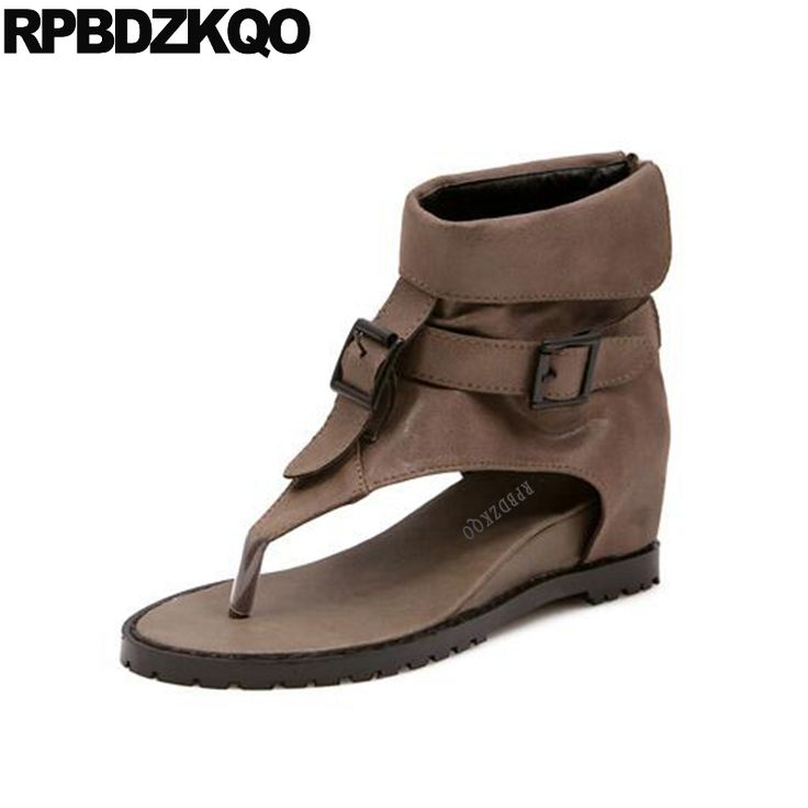 Cheap 2017 Booties Sandals Height Increased Shoes Metal Hidden Brown Wedge Summer Short Open Toe Women Ankle Boots Back Zipper #Affiliate