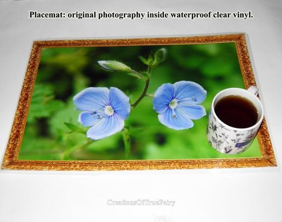 Desk mat forget-me-not flowers photography Green blue place mat for table Dinner placemat Washable placemat Vinyl mat placemats handmade A9F