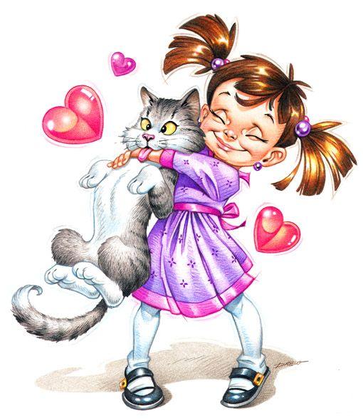 Делать, картинки девочка и котик рисованные