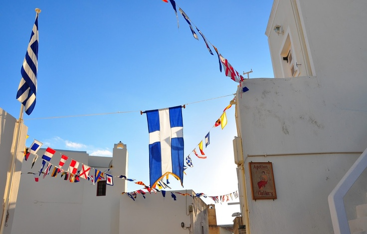 Flying the flags in Santorini, #Greece via: Behind The Lens Lukey #travel