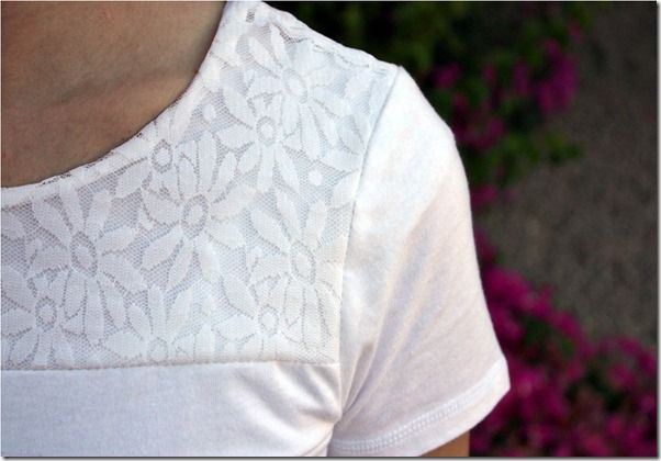 Add lace to a tee shirt