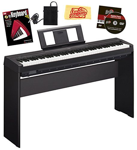 Yamaha P-45 Digital Piano Bundle with Yamaha L-85 Furniture-Style Stand, Sustain Pedal, Hal Leonard Instructional Book, Austin Bazaar Instructional DVD, and Austin Bazaar Polishing Cloth - Black *** Find out more about the great product at the image link.