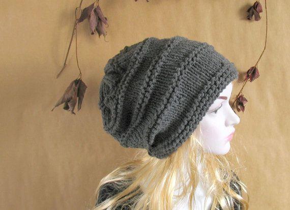 Women Hat - Hand Knit Hat - Slouchy Hat - Oversized Hat - Oversized Hat in Grey - Chunky Knit