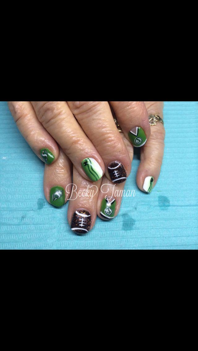 Saskatchewan Roughrider shellac Nails by Becky Taman