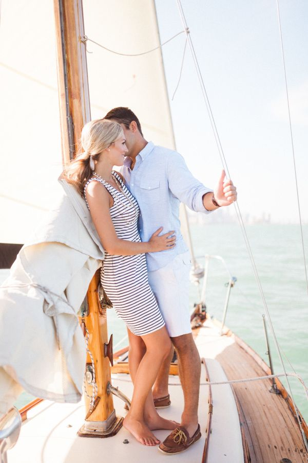 Glamorous and nautical engagement session: http://www.stylemepretty.com/florida-weddings/coral-gables/2015/08/25/glamour-sailing-engagement-in-miami/ | Photography: http://hunterryanphoto.com/