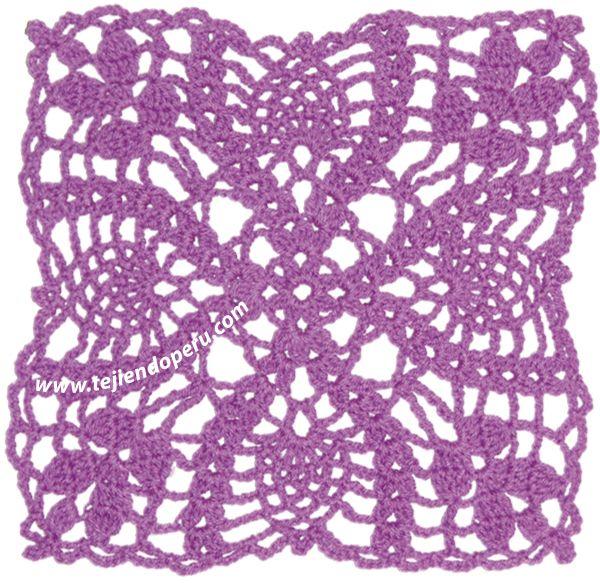 cuadrado con hojas caladas tejido a crochet (granny square)