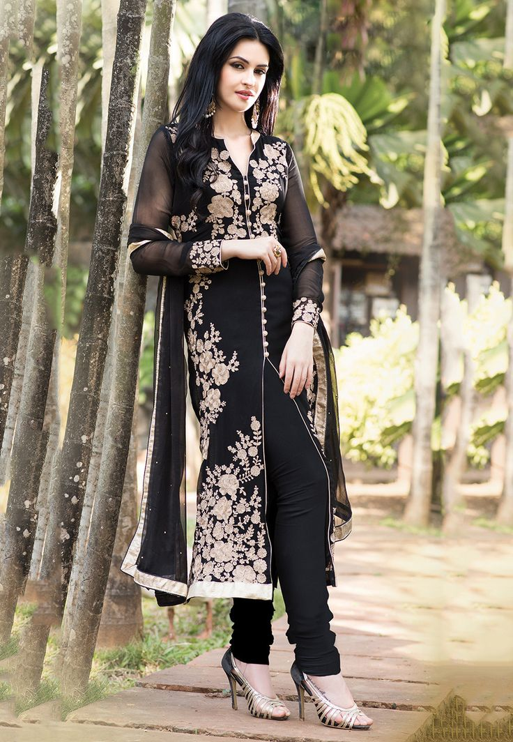 Buy Embroidered Straight Cut Front Slit Georgette Suit In Black online,Item code: KAE196, Occasion: Wedding, Work: Contemporary, Stone Work, Zari, Fabric: Georgette, Gender: Women