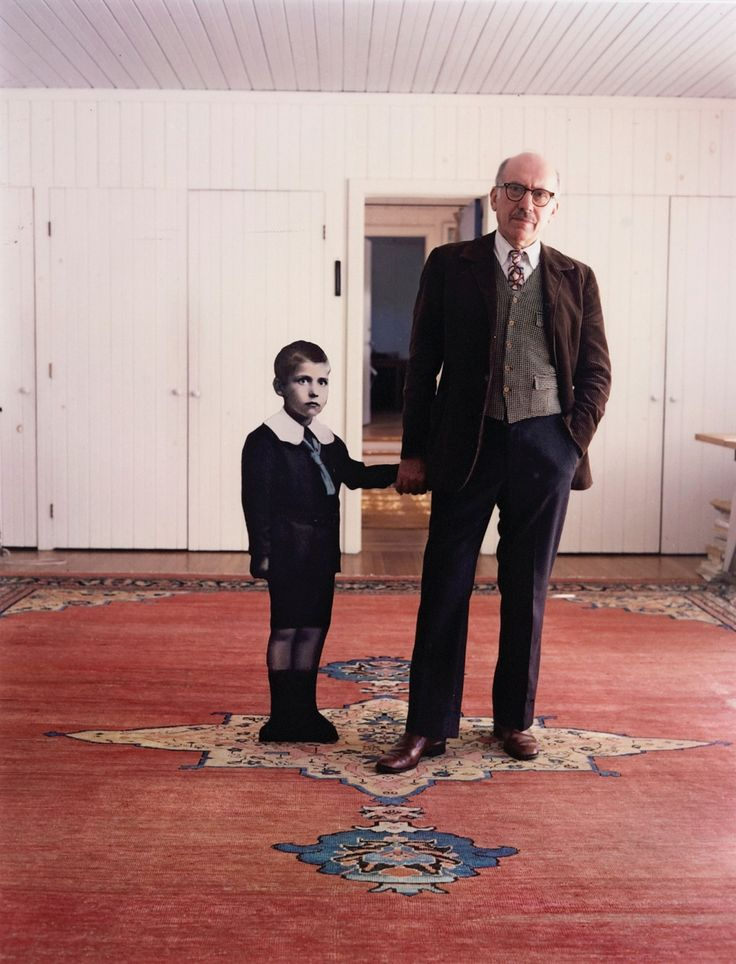 Saul Steinberg, with himself as a Little Boy, Long Island, 1978    photo by Evelyn Hofer: Artists, 1978 Photos, Saulsteinberg, Long Islands, Saul Steinberg, Steinberg Hold, New York, Little Boys, Evelyn Hofer